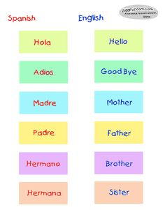Spanish/English word match I