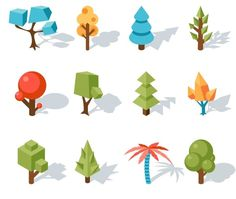 Tree low poly icons by Microvector on @creativemarket