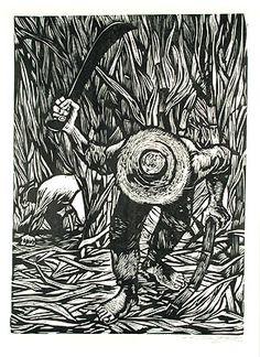Cortador de caña (linocut) 1951 - Rafael Tufiño