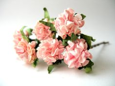 Pink Wedding Flowers on Brunette Hair Grips Ballet and Bridal Wear Bun Accessories Plat Hair Decorations Set of Six Bobby Pins