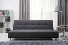 Homewish - Duke Fabric Futon Sofa Bed, in a Modern Pebble Grey by Leader Lifestyle