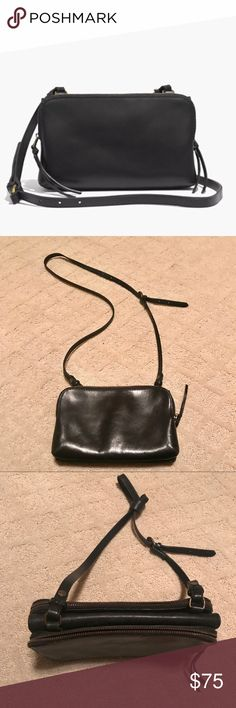 """Madewell twin pouch leather crossbody Gently used Madewell 100% leather crossbody bag, long strap, double zipper pouch 9"""" W x 6"""" H x 3"""" D  23"""" drop Madewell Bags Crossbody Bags"""
