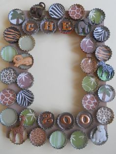 Zoo Bottle Cap Picture Frame