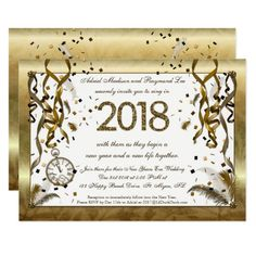 Golden New Years Eve Wedding Invitations Invitation Card Design Cards Custom