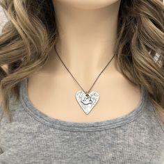 Heart Necklace with Dove | Little Bridget Jewelry Peace Dove, Precious Metal Clay, Calming, Sterling Silver Necklaces, Metals, Cable, Scrap, Copper, Chain
