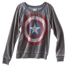Junior's Captain America Long Sleeve Graphic Tee