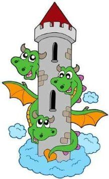 Three Headed Dragon with Tower Wall Decal - 24 Inches H x 15 Inches W - Peel and Stick Removable Graphic Dragon Pictures, Pictures To Draw, Cartoon Drawings, Easy Drawings, Dinosaur Coloring Pages, Dinosaur Crafts, Color Pencil Art, Cartoon Wallpaper, Stone Painting