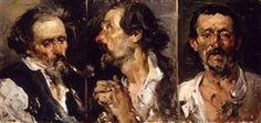 Three studies of head - Joaquín Sorolla