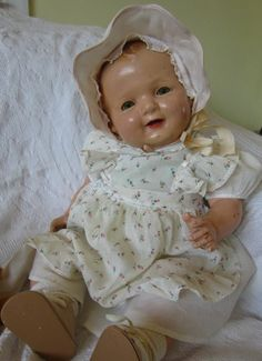 """Large/Huge 23-24""""Antique Composition&Cloth Happy Baby Doll W/Dress Life Sized"""