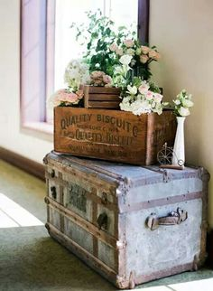 Luv the look of old trunks, antique wooden boxes and flowers