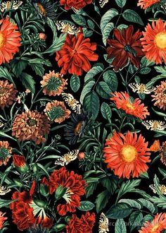 Night Forest Xviii Comforters by Burcu Korkmazyurek - Queen: x Look Wallpaper, Pattern Wallpaper, Wallpaper Backgrounds, Wallpapers, Botanical Illustration, Botanical Prints, Floral Prints, Deco Floral, Motif Floral