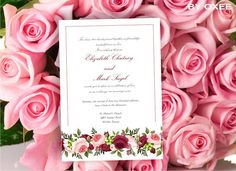 Printable Wedding invitation template Red and Pink Roses by Oxee, $5.00