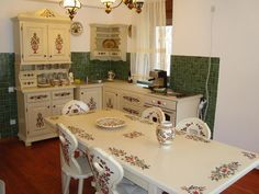 New, old kitchen in Vojvodina, Serbia Paint Furniture, Bed Furniture, European House, Interior Decorating, Interior Design, Old Kitchen, Country Kitchen, Painted Doors, Architecture Design