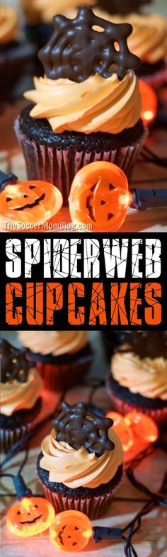 These easy chocolate spiderweb Halloween cupcake toppers will help you create a wow-worthy (and spooky) holiday dessert in record time! via HTTP://www.pinterest.com/soccermomblog