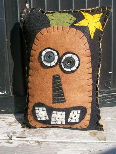 Skinny Primitive Pumpkin Pillow by uneekpillows on Etsy