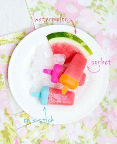 watermelon sorbet on a stick