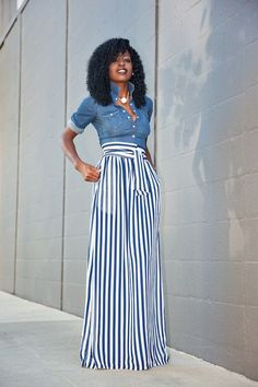 Fitted Denim Shirt Striped Maxi Skirt (Style Pantry) - Denim And White - Ideas of Denim And White - Well I cant go too long without a denim shirt. I just cant Outfit Details: Shirt (old H&M find): Similar here here or here Maxi Skirt Style, Maxi Skirt Outfits, Striped Maxi Skirts, Maxi Pants Outfit, Striped Pants, Blue Striped Shirt Outfit, Maxi Skirt Outfit Summer, Striped Dress, Long Maxi Skirts