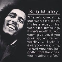 Bob Marley has blessed us with his music for only a short period of time but his music and words will last forever. Enjoy these Bob Marley quotes! Bob Marley Love Quotes, I Love You Quotes, Love Yourself Quotes, Great Quotes, Quotes To Live By, Inspirational Quotes, Motivational, Quotes About Love Hurting, Wedding Quotes And Sayings