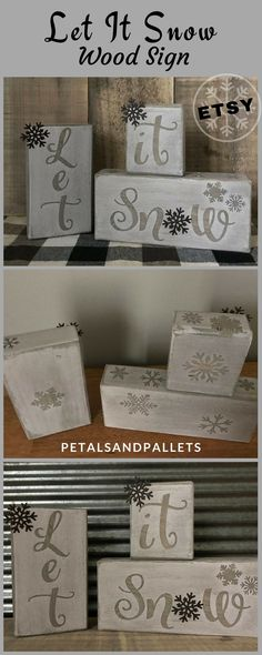 Let It Snow Wood Sign, Rustic Winter Decor, Let It Snow Wood Blocks, Snowflake Decor, Farmhouse Holiday Signs, Rustic Christmas Sign Country #ad