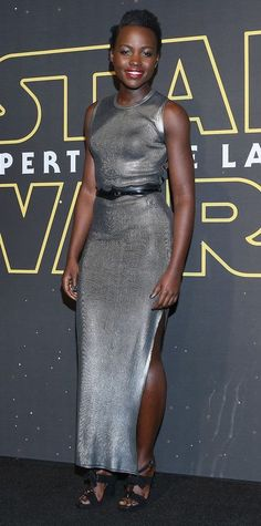 Lupita Nyong'o gave her look a sci-fi spin for the Mexico City premiere of Star Wars: The Force Awakens in a futuristic ribbed metallic-coated Louis Vuitton number that she belted and accessorized with sweet bow-accented sandals.