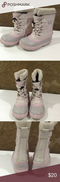 Sorel Snow boots Pink and grey Sorel boots removal inserts a little worn but great boots Sorel Shoes Rain & Snow Boots