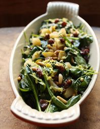 Seeing Green  Spanish Style Spinach  Baby spinach, apples, pine nuts, dry sherry, shallots