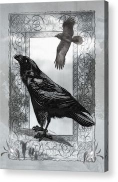 Goth Acrylic Print featuring the digital art Gothic Victorian Raven Mixed Media…