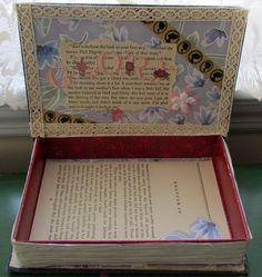 """Treasure box I made from an old book. Will give it to my """"craft buddy"""" with a surprise inside.  Idea origninally from Pinterest. Treasure Boxes, Treasure Chest, The Shining, Old Books, Little My, Imagination, Crafts For Kids, Give It To Me, Projects To Try"""