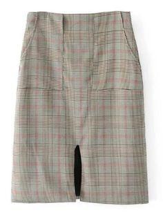 Slit Detail High Waist Plaid Skirt