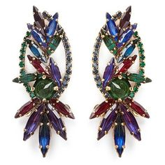 Erickson Beamon 'Hyperdrive' Swarovski crystal oval leaf earrings ($420) ❤ liked on Polyvore featuring jewelry and earrings
