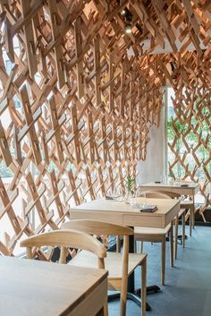 Fusing Culture And Architecture At Wild Rocket, Singapore Glass Restaurant, Cafe Restaurant, Restaurant Design, Cafe Shop, Cafe Bar, Restaurants, Bar Design Awards, Workplace Design, Hospitality Design