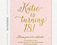 pink gold glitter 18th birthday invitation for girl, modern teen birthday party invitation, printable digital file 5x7 s113