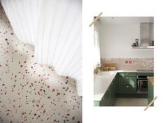 Avant / Apres Cuisine - Fait Maison - Maïa Chä Farrow Ball, Terrazzo, Curtains, Furniture, Home Decor, Before After Kitchen, Mismatched Chairs, Home Decoration, Home Made