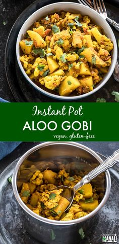 Classic Indian dish, Aloo Gobi made in the Instant Pot! This spiced potatoes and cauliflower dish is vegan, gluten-free and makes a comforting meal. #vegan #instantpot #indian #indianfood #glutenfree via @cookwithmanali