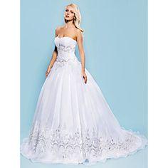 Ball Gown Sweetheart Court Train Organza Wedding Dress