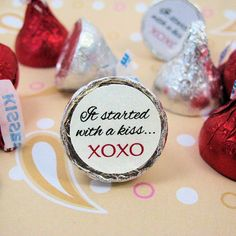 It Started With A Kiss Wedding Hershey Kisses Stickers Labels Favors via Etsy