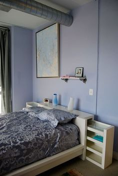 "Read More"" Headboards with Hidden Storage Ikea MALM bed with storage space racks head board OR as a couch table!"", ""Headboards with Hidden Storage Ikea Cama Malm Ikea, Small Bedroom Storage, Bed Storage, Storage Shelves, Diy Storage Headboard, Cube Shelves, Record Storage, Shelving, Malm Bed"
