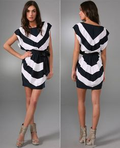 Bold black and white striped dress