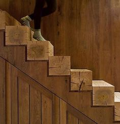 Interesting steps, maybe for a cottage.  Wow RailRoad Tie Stairs.  Awesome!