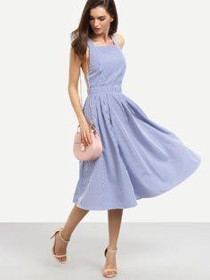 Vestido rayas sin manga espalda cruzada -azul-Spanish SheIn(Sheinside) Sitio Móvil