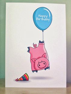 Pig Birthday Card - http://www.etsy.com/listing/163527307/pig-birthday-card