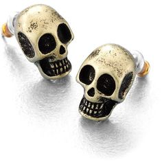 Rock & Republic Gold Tone Skull Button Stud Earrings ($7.80) found on Polyvore