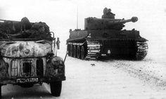 A Geman Steyr 1500 truck and a Tiger tank at Kharkov, Ukraine, 1943.