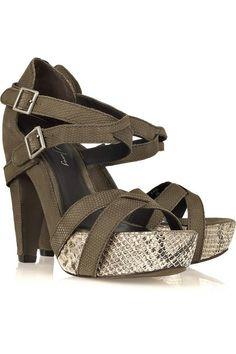 Elizabeth and James Tari snake-effect nubuck sandals