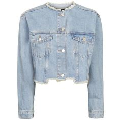 TopShop Moto Choppy Crop Denim Jacket (2.380 RUB) ❤ liked on Polyvore featuring outerwear, jackets, topshop, mid stone, blue jean jacket, cropped denim jacket, denim jacket, collarless jean jacket and jean jacket