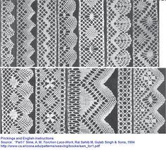 Prickings and English instructions for these patterns.  *Part I* Sime, A. M. Torchon Lace-Work, Rai Sahib M. Gulab Singh & Sons http://www.cs.arizona.edu/patterns/weaving/books/sam_tor1.pdf