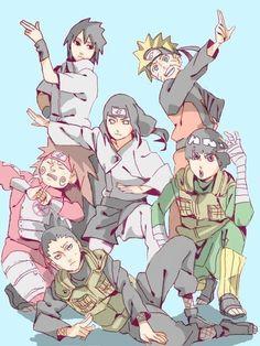 Sasuke Naruto Neji Choji Rock Lee and Shikamaru Naruto Uzumaki, Anime Naruto, Naruhina, Manga Anime, Naruto Fan Art, Naruto Gaiden, Naruto Cute, Naruto Funny, Shikamaru