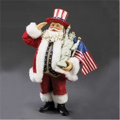 """10"""" Musical Fabriche American Red Santa Claus with Statue of Liberty Flag & Hat"""