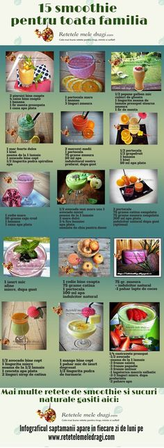 15 smoothie pentru toata familia Healthy Recepies, Healthy Smoothies, Healthy Drinks, Healthy Nutrition, Healthy Habits, Dr Smoothie, Helathy Food, Health Eating, Healthy Lifestyle