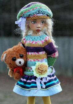 "OUTFIT SET WITH BEAR  FOR 18"" MSD KAYE WIGGS DOLLS DOLLSTOWN DT 7 BY BARBARA"